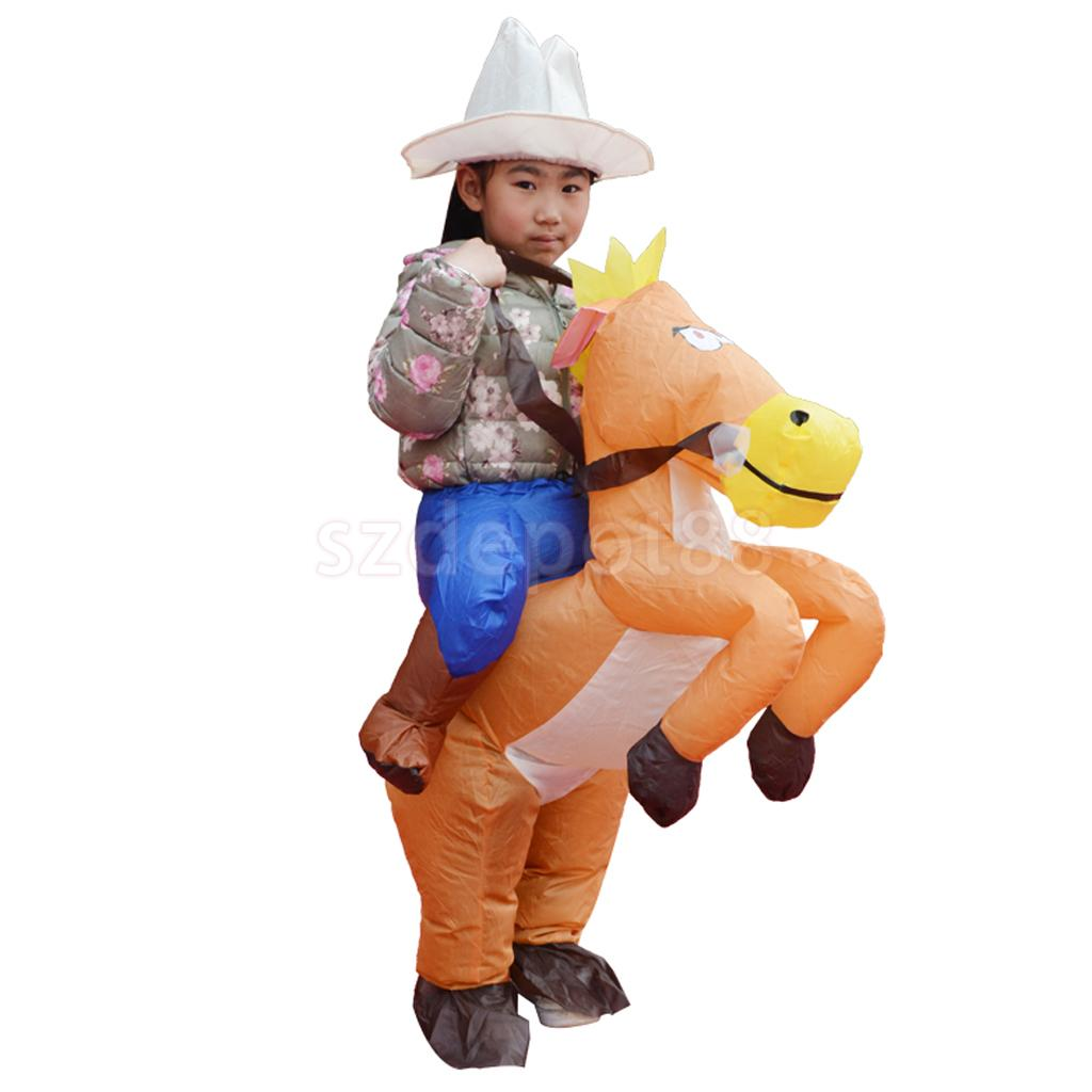 Inflatable Horse Rider Costume Outfit Kids Fat Pant Halloween Festival Stage Performer Birthday Party Fancy Dress 35cm