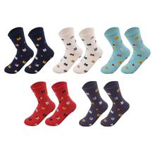 1Pair Cotton Mid Tube Socks Women' Breathable Cute Cat Printing Pattern Funny Sock Casual Autumn Winter Soft Warm MidCalf Length