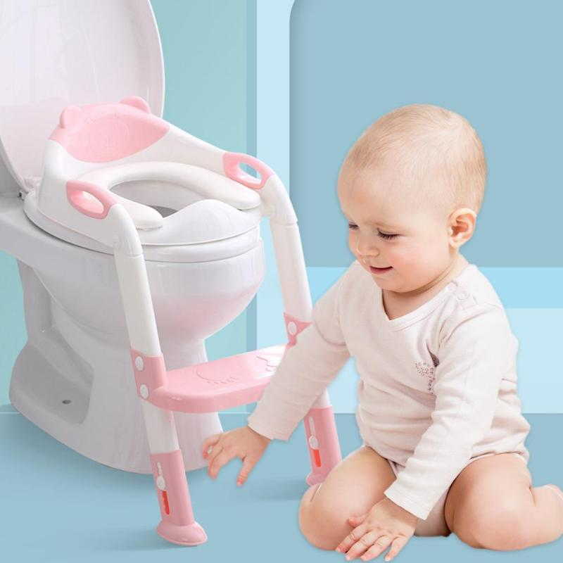 Baby Toddlers Potty Training Seat Children's Potty Baby Toilet Seat With Adjustable Ladder Infant Toilet Training Folding Seat | Happy Baby Mama