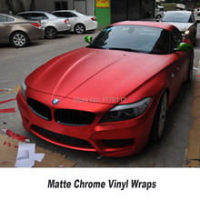 Красный, Матовый хромированная виниловая упаковка автомобильная пленка для автомобиля укладки Гарантия качества 5ft X 65ft/Roll
