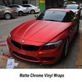 Red matte chrome Vinyl Wrap Car Wrapping Film Voor Auto Voertuig styling kwaliteitsborging 5ft X 65ft/Roll