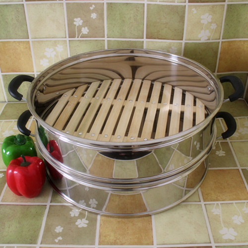 Bamboo Bottom Steaming Pot Drawer Steamer Cag Layer Lattice Steaming Frame Heightening Thickening Stainless Steel Integral Cage
