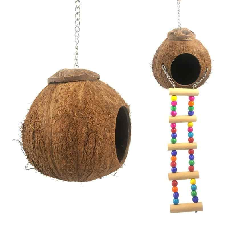 Natural Coconut Shell Bird Nest House Hut Cage Feeder Pet Parrot with Hanging Lanyard Hanging Toy