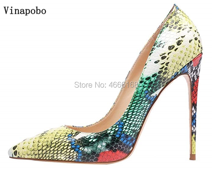 Vinapobo Fashion Multi color Snake Print Lady Autumn 2019 Pointed Toe High Stiletto Heel Evening Party