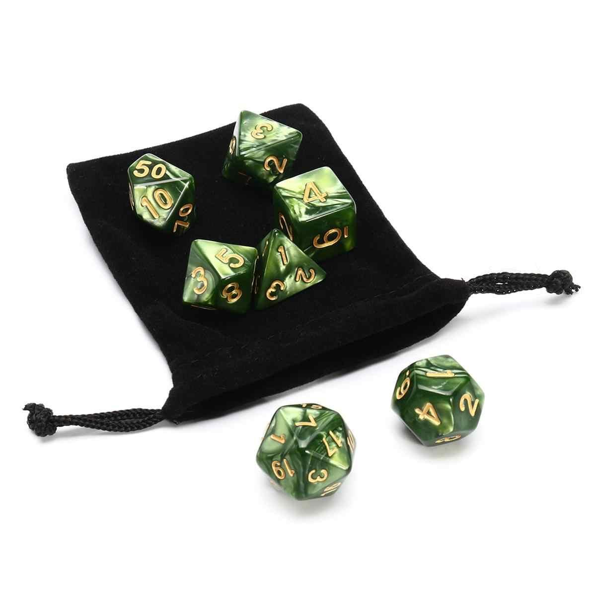 7 шт. Светящиеся Зеленые Мраморные трпг многогранные блестящие кости Mult-SID RG игральные кости набор гаджет ролевые игральные кости настольная игра с сумкой