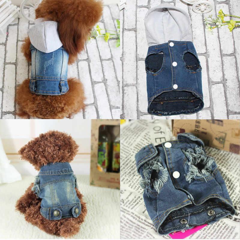 Haustier Hund Katze Kleidung pullover Blau Jean Denim Welpen Mantel Jacke Kleidung Kostüm Bekleidung