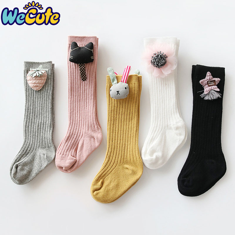 Wecute Cartoon Flower Princess Socks Baby Girls Fashion Cotton Cute Rabbit Long Socks Child Kids Knee-high Socks Hot Sale