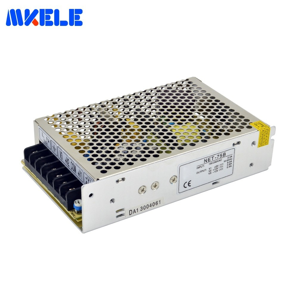 Small Volume Triple Output Switching Power Supply AC To DC 75W Net 75b 5V 12V 12V For LED Strip CNC 3D Print SMPS