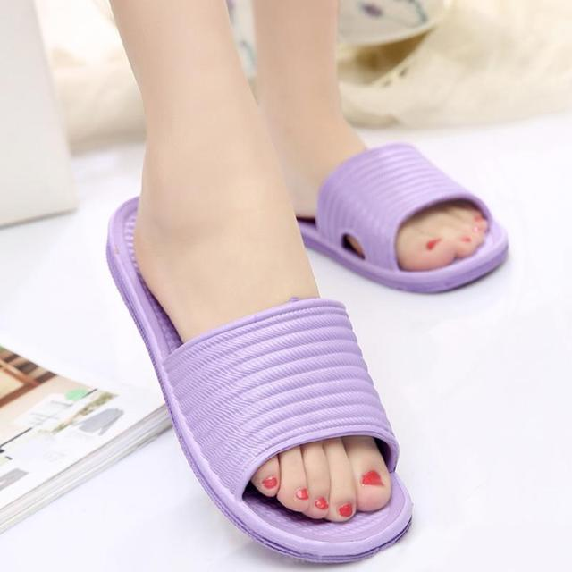 High Quality Women Flat Home Bath Slippers Summer Sandals Non-slip Indoor & Outdoor Shoes Green,Yellow,Purple,Sky blue,Pink