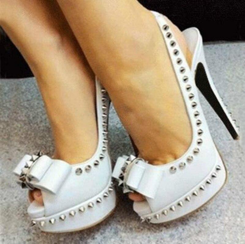 2019 Spring New Women Pumps High Heels Shoes Red Peep Toe Elastic Band Shoe Rivet Butterfly-Knot Shoes Pumps Women Wedding Shoe
