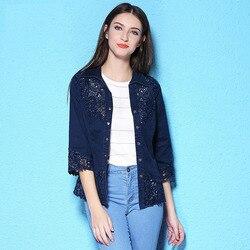 Nordic Winden 2019 Zomer denim shirts vrouwen mode borduren blouses plus size denim blouse vrouw nw17c1209