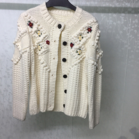 Роскошные модные кардиганы для женщин 2019 высокое качество кардиганы женские осенние с круглым вырезом трикотажные кардиганы свитер