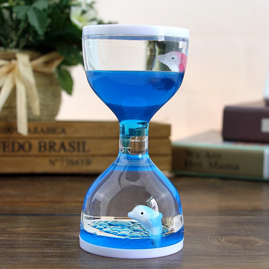 Dolphin Liquid Motion Bubbler Timers, Oil Hourglass Sensory Relaxation Toy Visual Bubble For Office & Desk Decor Xmas Gifts