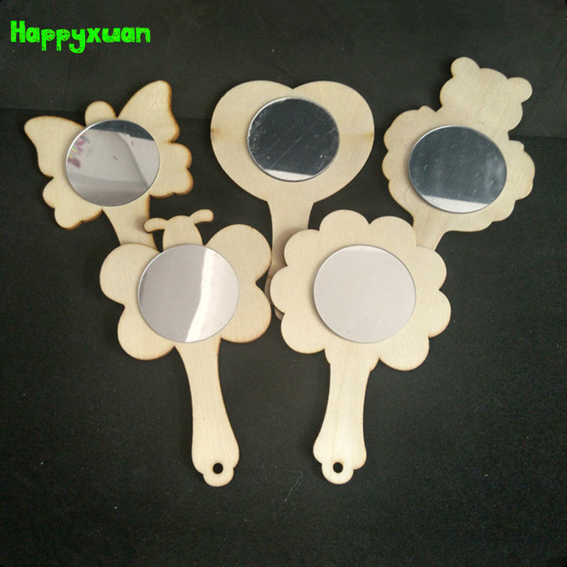 Happyxuan 5pcs/lot Wood White Mold Mirror DIY Coloring Painting Children Handmade Art Craft Material Kindergarten Toys Kids