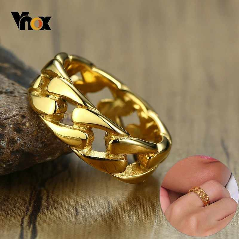 Vnox Punk Link Chain Shape Ring For Men Silver/Black/Gold Tone Stainless Steel Fraternal Rings Male Alliance