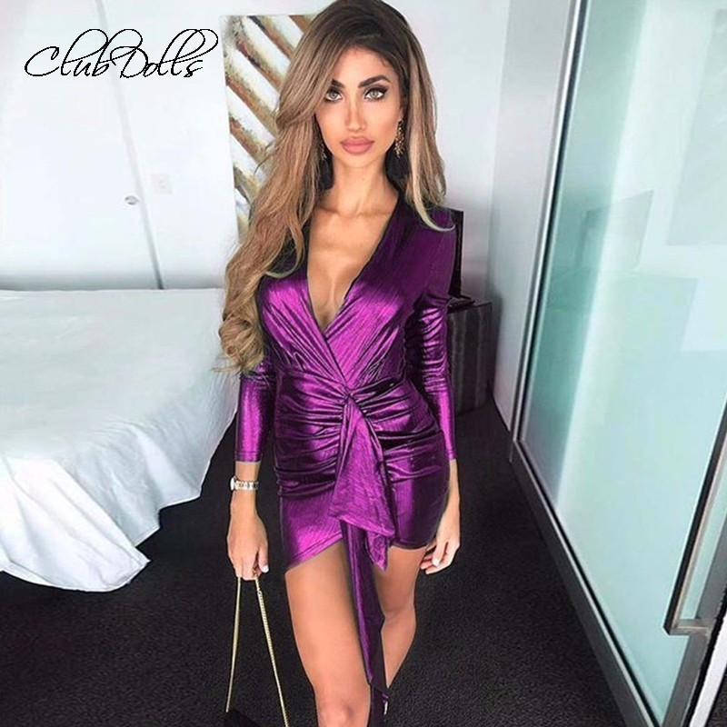 Fashion Party   Cocktail     Dresses   Long Sleeve Deep V Neck Sexy Mini   Dress   Bodycon Elegant Summer 2019 Female   Dresses   Vestidos