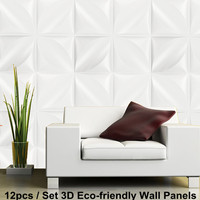 DIY Wall Panel Background Paintable Cover Sticker Wall Decals 32 sqft 12Pcs 3D Diamond Pattern Wedding Home Kitchen Decor 50x50