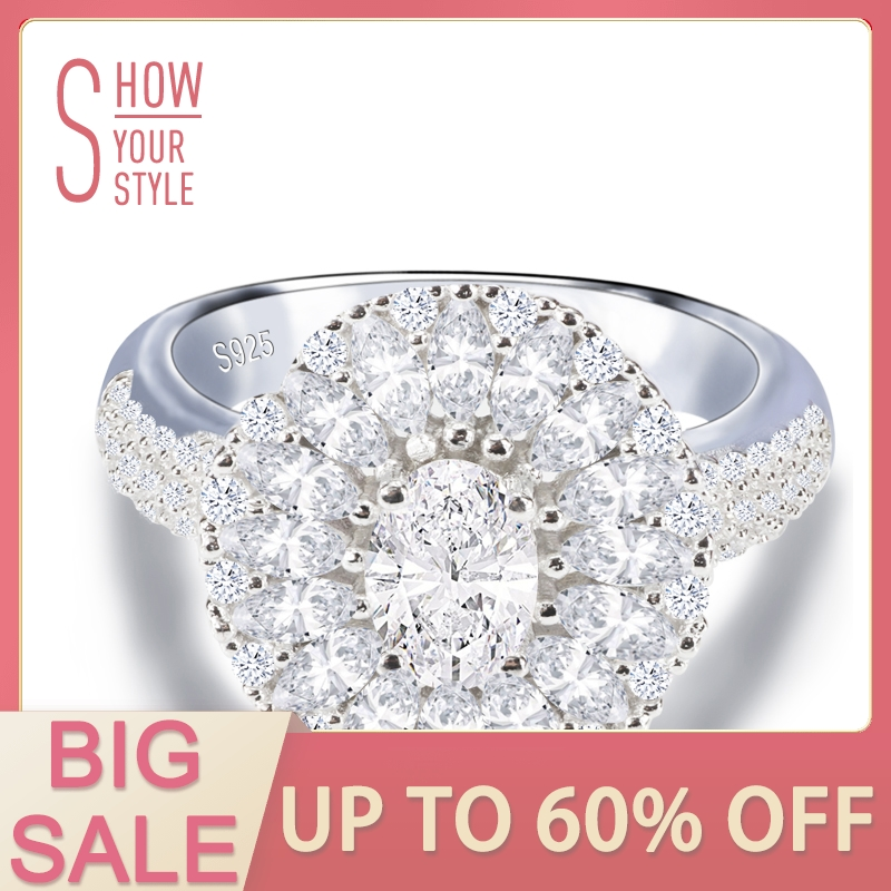 solid real Design! 925 Sterling Silver Oval Cut Wedding Engagement Finger Rings for Women zirconia Jewelry sepcial unique  R4318