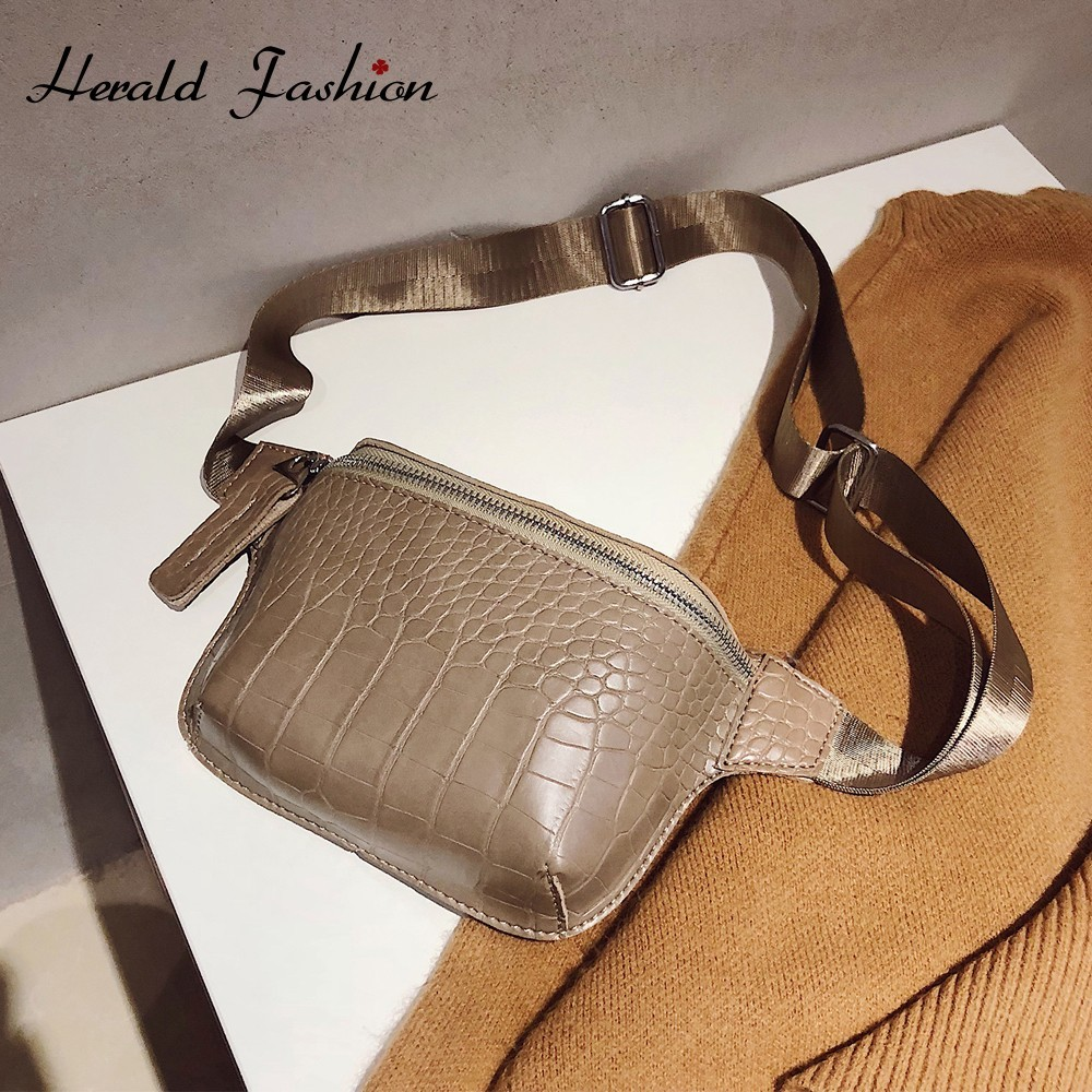 Herald Fashion Women Waist Bag Mini Round Belt Bag Pouch Quilted Leather Fanny Pack Casual Ladies Crossbody Travel Chest Bag Sac