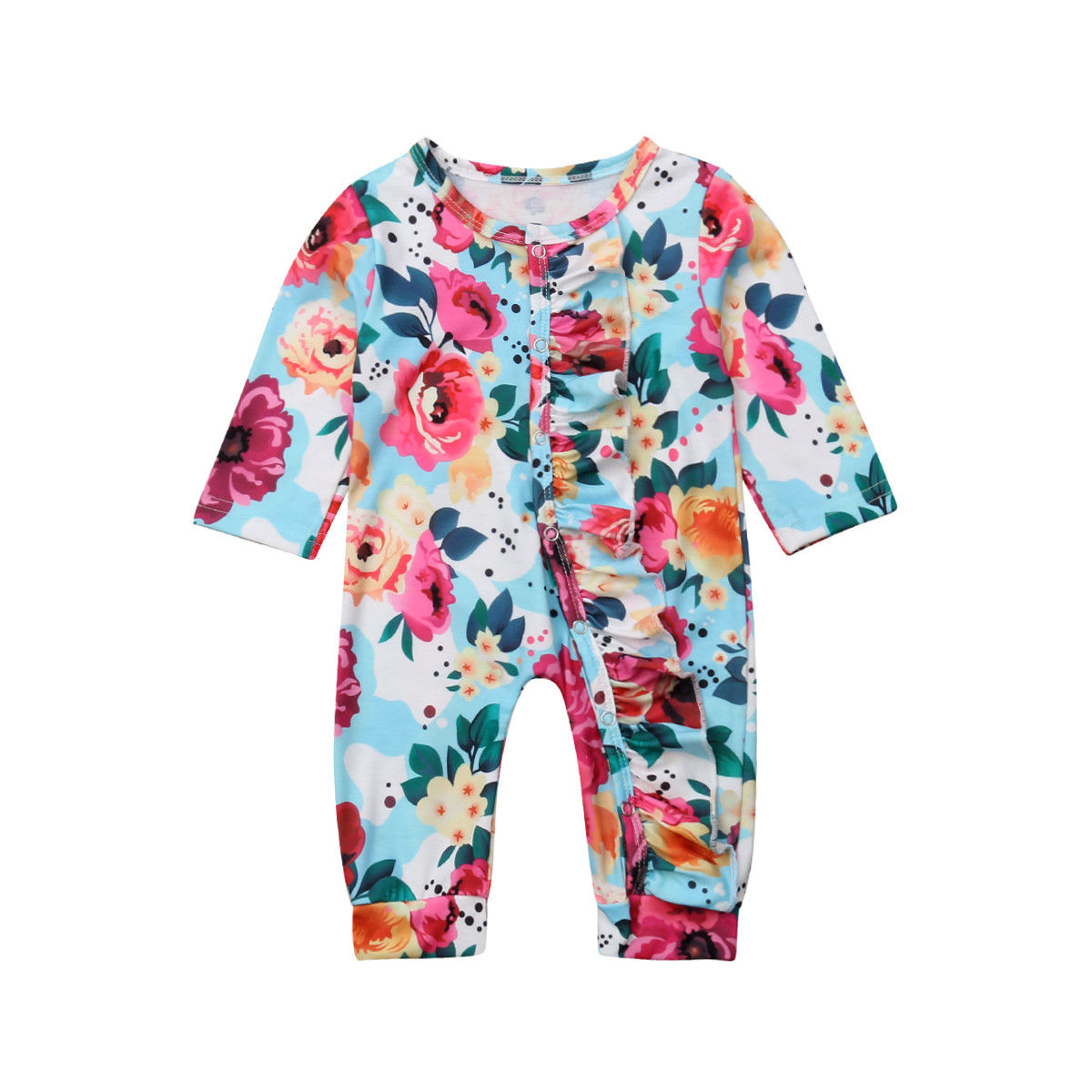 Pudcoco Newborn Infant Kid Baby Girls Floral Clothes Jumpsuit Print   Romper   Outfits