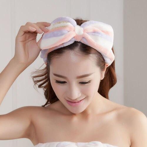 Beauty Big Bow Dot Striped Soft Shower Hair Band Wrap Headband Bath Spa MakeUp Washing Headband Femma Ladies Girls   Headwear