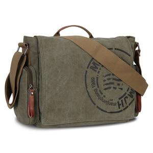 Image 2 - Vintage männer Messenger Bags Leinwand Umhängetasche Mode Mann Business Umhängetasche Für Mann Marke Druck Männlichen Reise Handtasche
