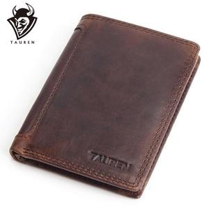 Image 1 - Vintage designer 100% genuíno carteiras masculinas couro dos homens curto carteira bolsa titular do cartão moeda bolso masculino carteiras