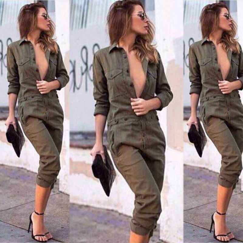 Fashion Cargo Jumpsuit Buckle Belt Military Romper Front Zip Striped Overalls Green Female Long Sleeve Pants Streetwear Jumpsuit