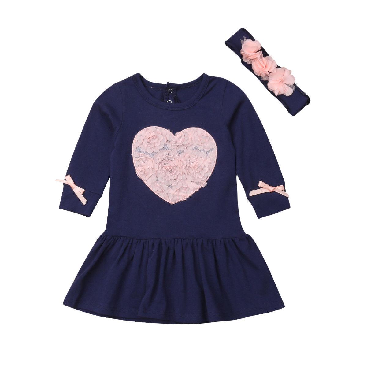 0-24 M Nette Neugeborene Baby Mädchen Langarm Herz Blume Prinzessin Mädchen Baumwolle Mini Kleid Stirnband 2 Pcs Baby Kleidung