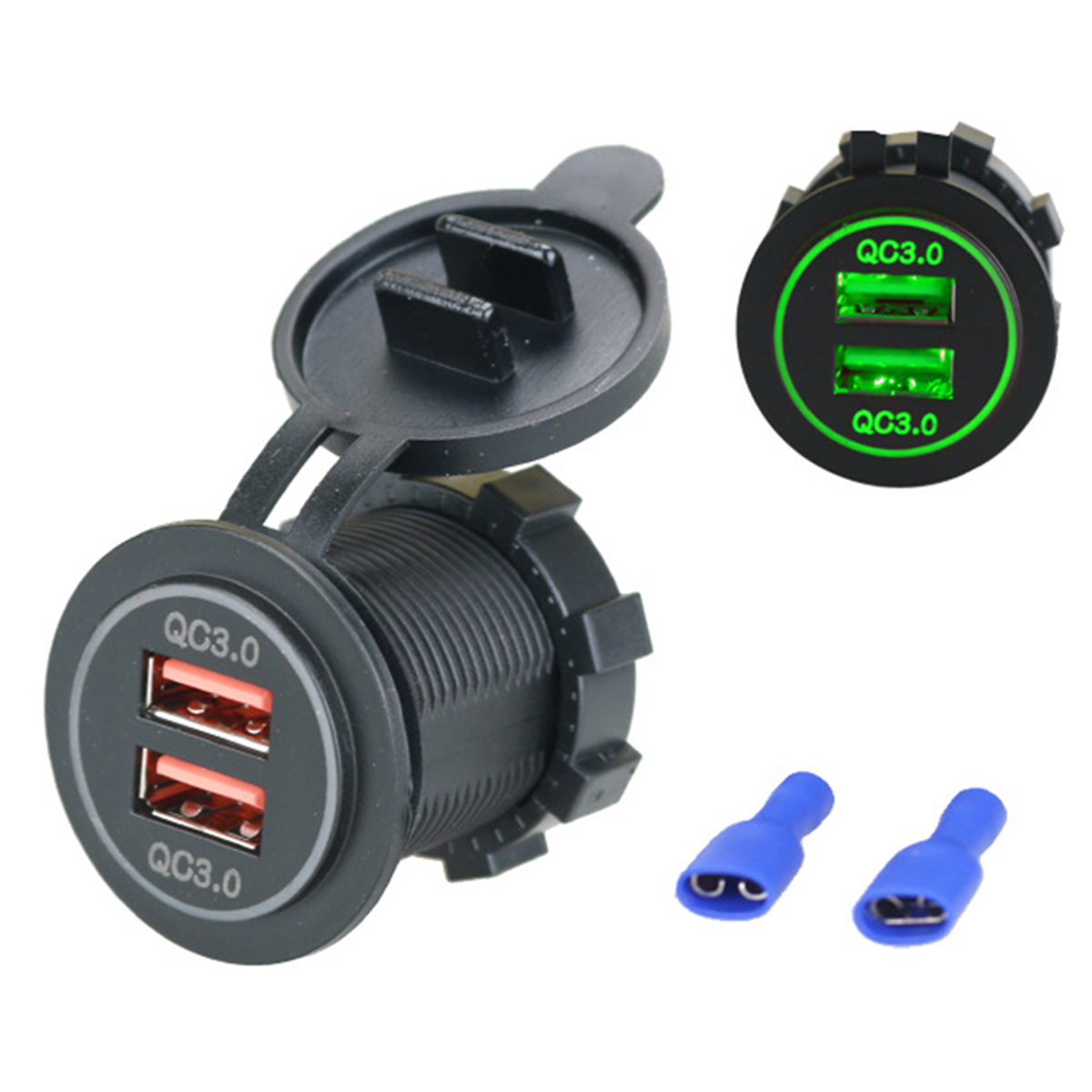 12V 24V Motorcycles Mini Dual USB QC 3.0 Smart Car Charger Fast Charge Red/Green/Blue LED Light Fit For Cellphone Tablet Car DVR