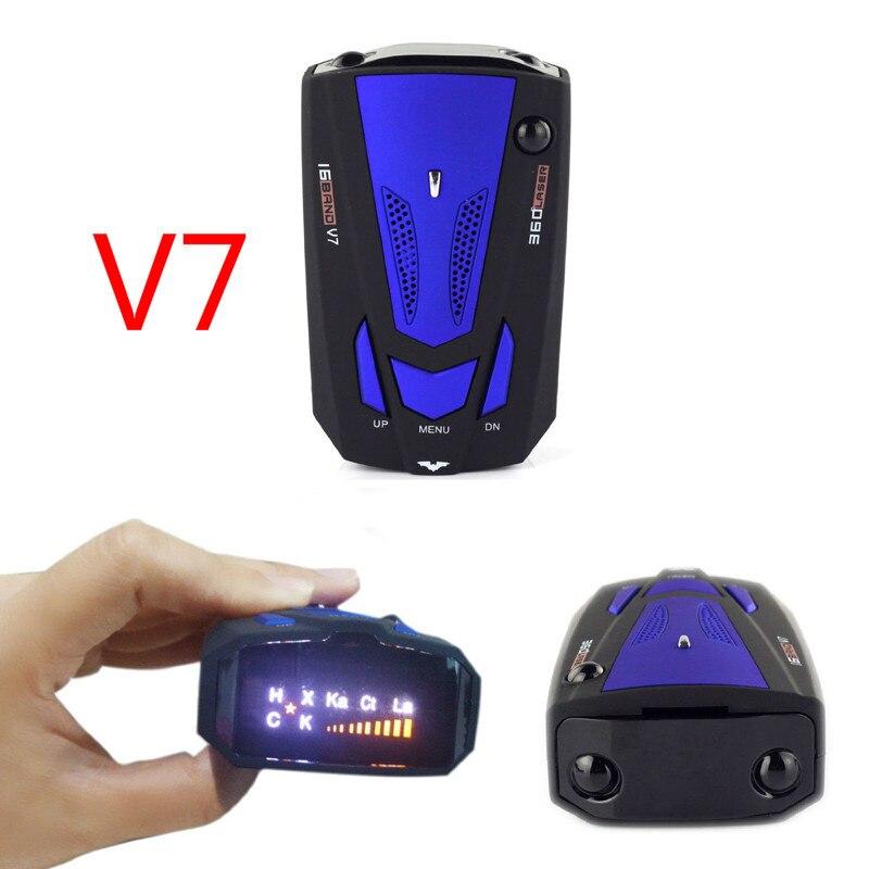 Car Radar Detector English Russian Auto 360 Degree Vehicle V7 Speed Voice Alert Alarm Warning 16
