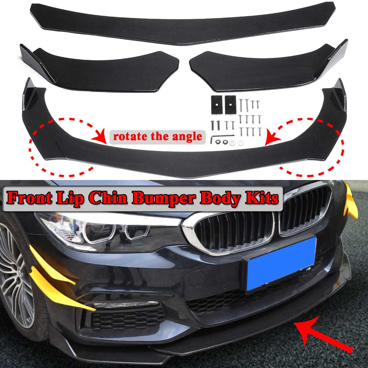 3pcs Carbon Fiber Look Universal Car Front Bumper Lip Bumper Spoiler Lip Body Kits For BMW F10 F30 F32 F36 F80 M3 F82 M4 G30 image