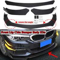3pcs Universal Car Front Lower Lip Chin Bumper Spoiler Lip Body Kits Carbon Fiber Look For BMW F10 F30 F32 F36 F80 M3 F82 M4 G30