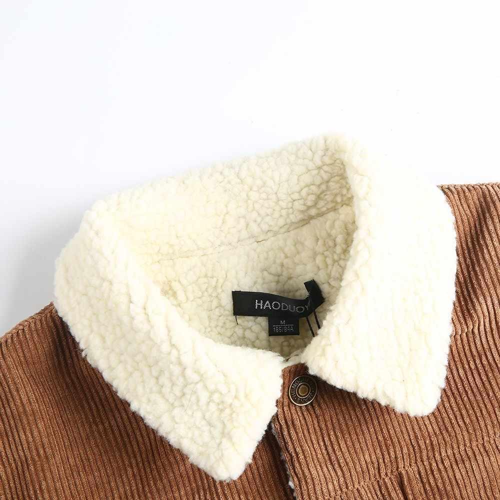 HDY Haoduoyi зимняя куртка для женщин с длинным рукавом и отложным воротником кордовое пальто для женщин однобортное осеннее модное пальто верхняя одежда