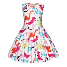 AmzBarley Girls Dinosaur Dress Kids Birthday Party Dresses Pageant A-Line Animal Cartoon 3-10 Years