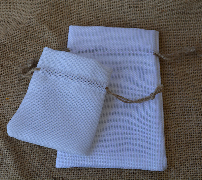 Hearty White Flax Jewelry Gift Pouch 8x11cm 9x12cm 10x15cm Pack Of 100 Wedding Birthday Party Candy Sack Jute Linen Sachet