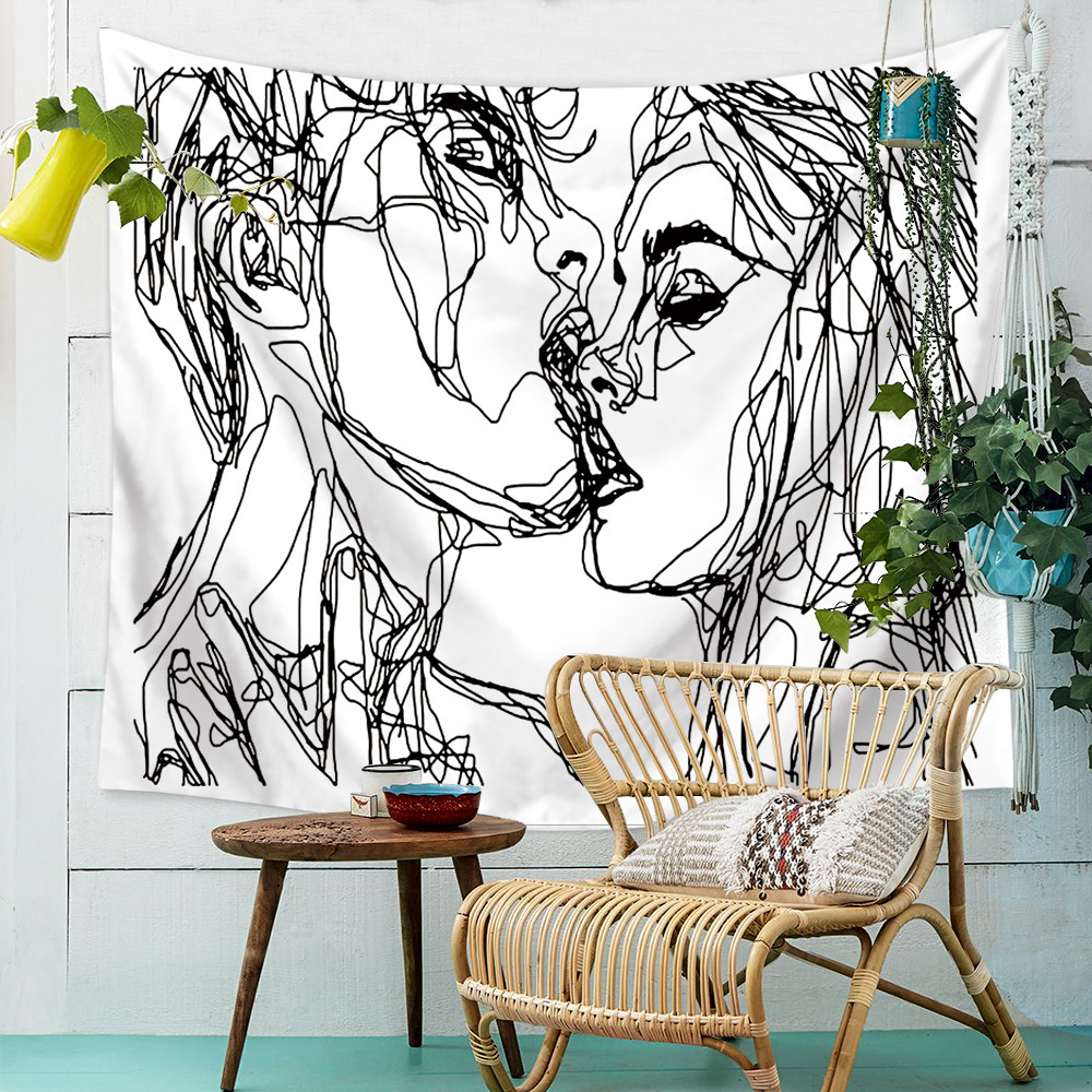 Kissing Black And White Abstract Modern Tapestry Wall