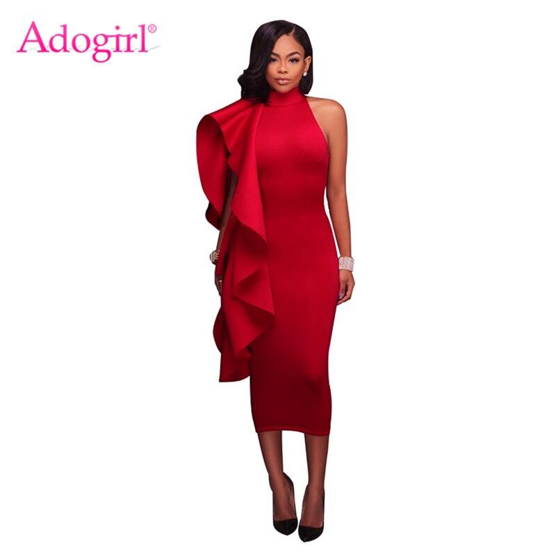 Adogirl Elegant Halter High Neck Ruffle Midi Party Dress 2017 Autumn Winter Scuba Sleeveless Bodycon Dresses Evening Vestidos