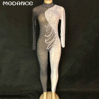 Новые сверкающие кристаллы сетки ночной клуб для женщин сексуальная пряжа черный, белый цвет комбинезон Gogo танцор певец танцевальные костю