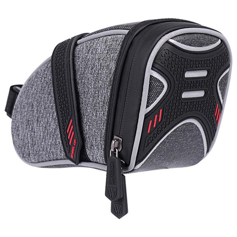SEWS-Wheel Up Waterproof Bicycle Saddle Bag With Light Hook Bike Tube Rear Tail Seatpost Bag Bike Accessories