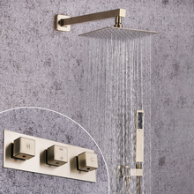 SKOWLL Brushed Gold Solid Brass Bathroom Shower Set 8 inch Shower Head Shower Faucet цена в Москве и Питере