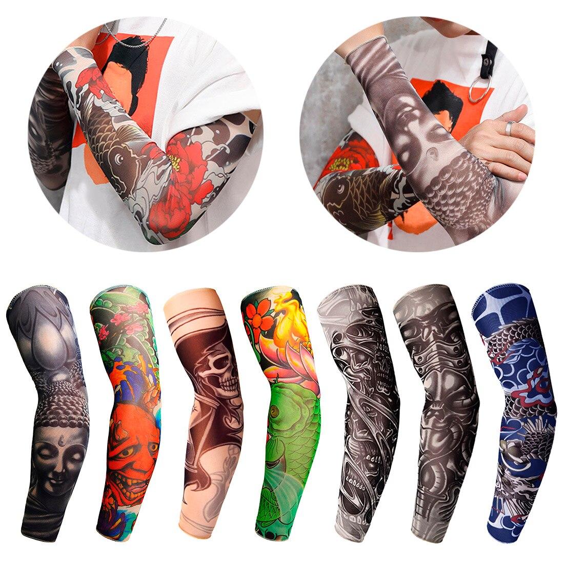 1 Pc Nylon Tatoo Arm Strümpfe Arm Wärmer Abdeckung Elastische Gefälschte Temporäre Tattoo Ärmel Für Männer Frauen Neue Ankunft Tattoo Hülse