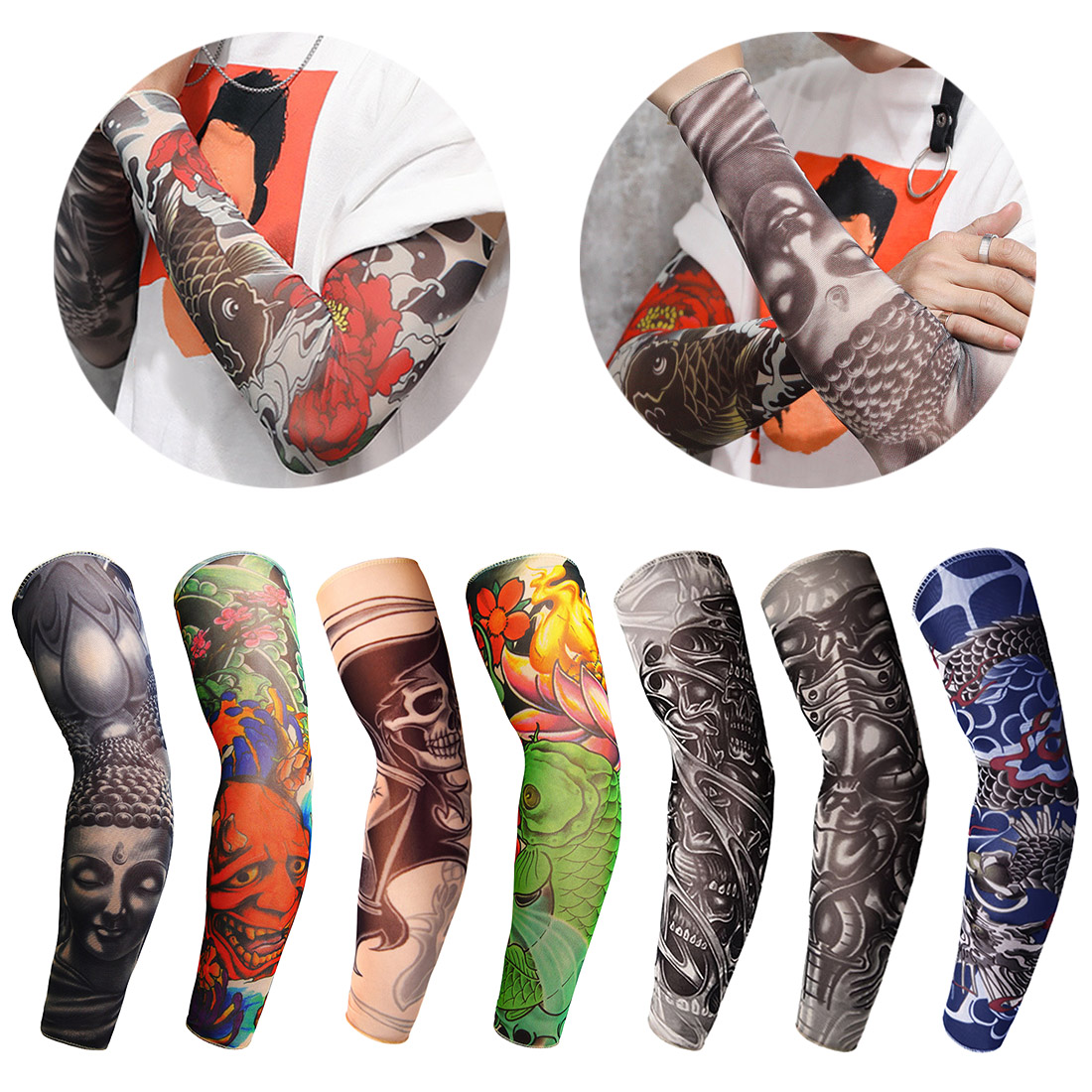 1Pc Nylon Tatoo Arm Stockings Arm Warmer Cover Elastic Fake Temporary Tattoo Sleeves For Men Women New Arrival Tattoo Sleeve