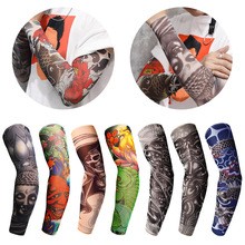 1Pc Nylon Tatoo Arm Stockings Arm Warmer Cover Elastic Fake Temporary Tattoo Sleeves For Men Women New Arrival tattoo sleeve 2019 new 1 x fake nylon adult temporary tattoo sleeves arm warmer temporary tattoo sleeve nylon arm warmer