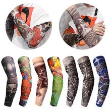 1Pc Nylon Tatoo Arm Stockings Arm Warmer Cover Elastic Fake Temporary Tattoo Sleeves For Men Women New Arrival tattoo sleeve