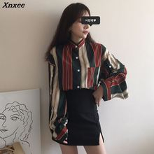 2019 Mazefeng Autumn Spring Shirts Women Striped Slim Stand collar Casual Ladies Tops Female Vintage Xnxee