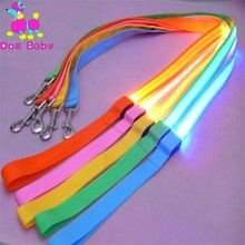 Nylon LED Leash Night Safety LED Flashing Glow In Dark Dog Collar Pet Supplies Cat Drawing Small Lead Retractable Dog Leash gd321 3 mode yellow light led flashing nylon leash for pet cat dog yellow 2 x cr2016
