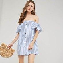 ffb87aee4 Mini mujeres vestidos casuales Simple recto con cuello de botón de moda  femenina elegante dulce azul barato venta caliente OL ve.