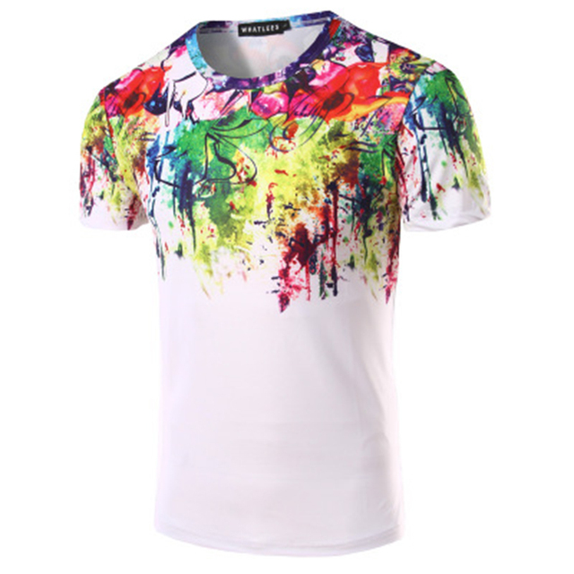 Camiseta Unisex de manga corta 3D acuarela colorida de impresión de pintura camiseta de verano Cool Men's camisetas Casual Tops camisetas