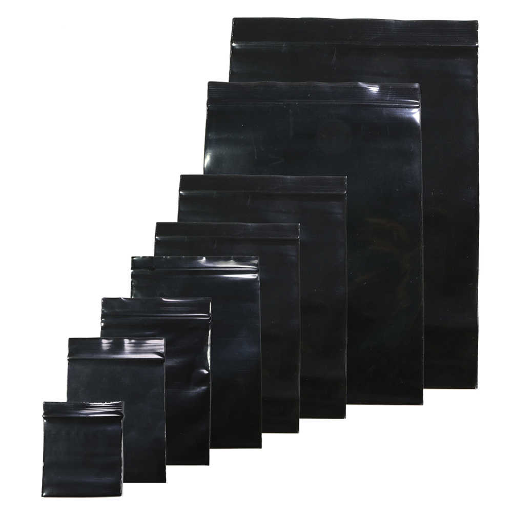 Useful 100pcs/lot Black Color Self Sealing Plastic Bags,ziplock poly bags zipper bags zip lock storage bags Dropshipping